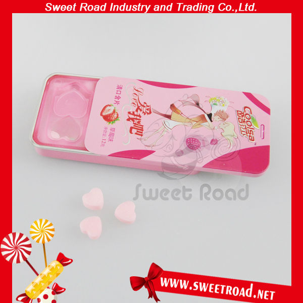 Strawberry Mint Buccal Tablets Candies, Fruit Mint Tin Case Compressed Tablet Candy, Compressed Candies