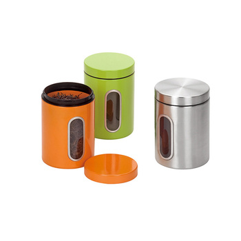 Round Metal Colorful Coffee Tea Sugar Canister Sets With Lid