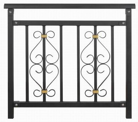 Black wrought iron railings exterior small black metal for Low balcony wall