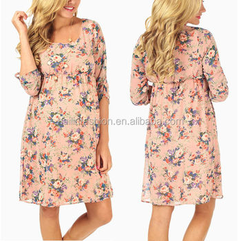 5914d2482e523 light pink rose floral print 3/4 sleeve chiffon woven korean style  maternity dress