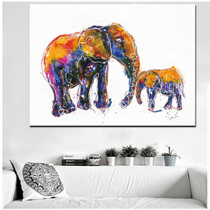 Watercolour Art Elephant Picture Stretched Canvas Print Painting Craft Wall Painting For Home Decoration