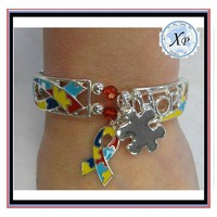 XP-MB-11102 FACTORY PRICE Newest Autism Ribbon Puzzle Jewelry, Awareness Puzzle Autism Ribbon Charm Bracelet
