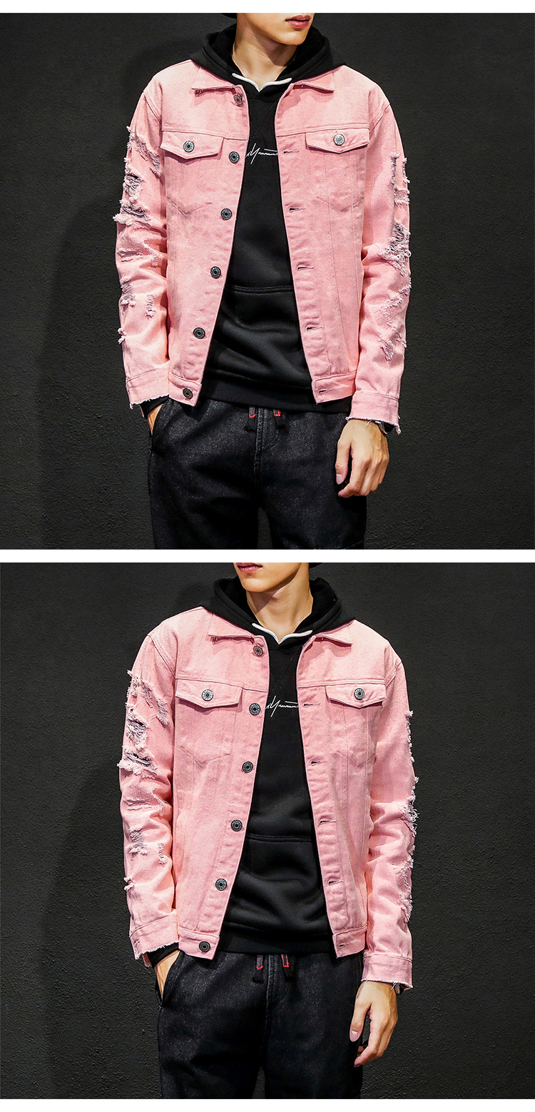 Factory Manufacturer Fashion Denim Collar Long Sleeves Mens Pink Jeans Jacket