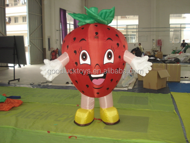 advertisement strawberry moving cartoon costume,inflatable moving cartoon for advertis,inflatable walking cartoon mascot costume
