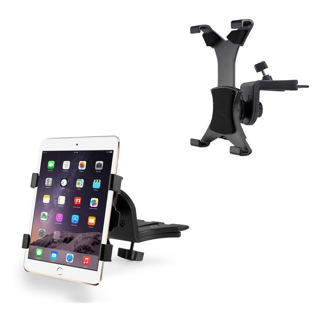 "CycleMore Universal In-Car CD Slot Tablet Mount Holder Cradle 7"" inch to 10.5"" inch For iPad 2 iPad Air, iPad Mini, Samsung Galaxy Tab S, Tab 4,Lenovo Yoga HD+ , Google Nexus 7, Nexus 10, and Microsoft Surface Pro 3, GPS devices ect"