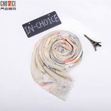 Factory outlet good quality silk scarf custom print summer holiday scarf