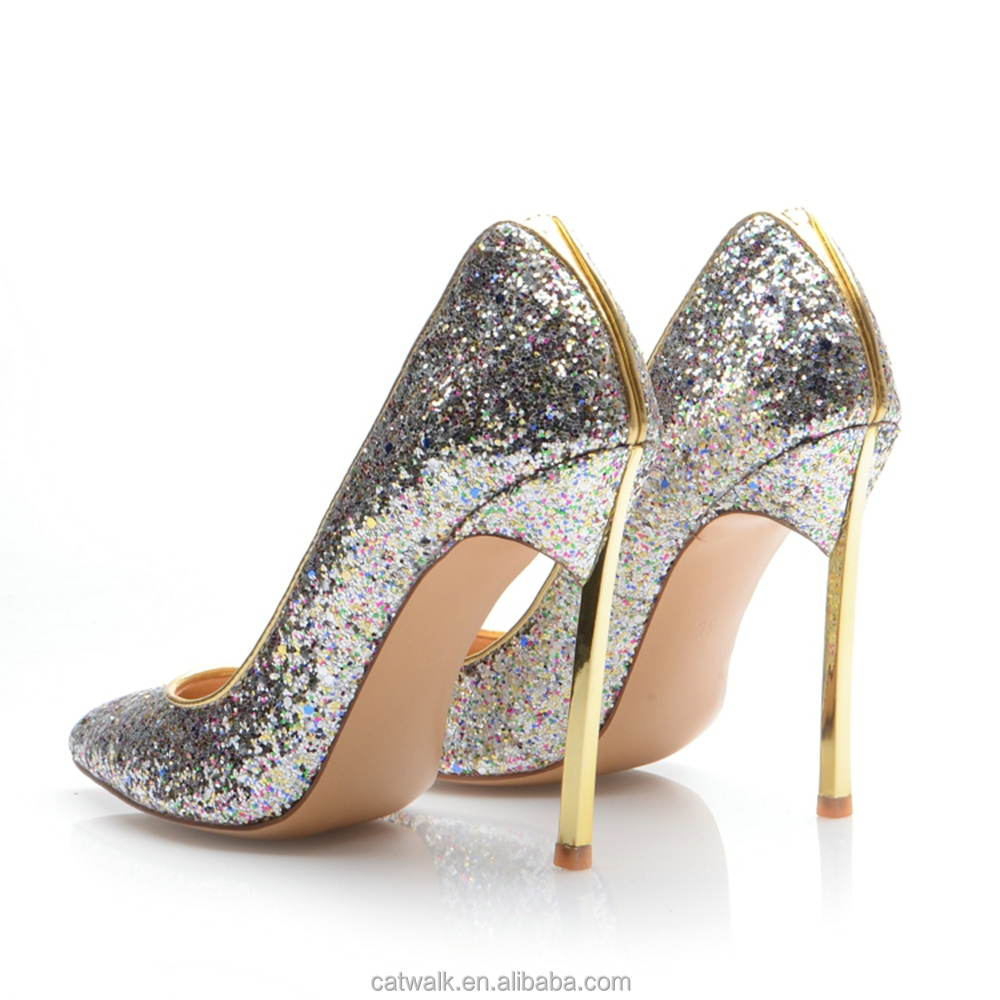 Wholesale Silver Glitter Girls Shoes Gold Metal Heels Designer ...