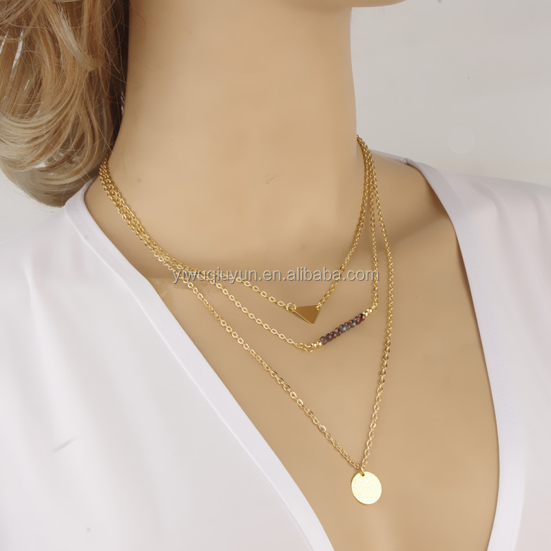 In Stock Elegant Gold Thin Chain Long Bar Necklace Chain Simple ...