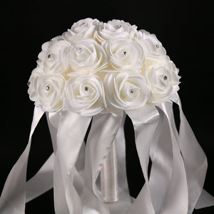 White Satin Lace Rhinestones Wedding Decoration EVA Foam Flower