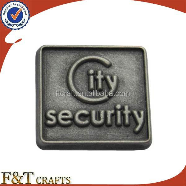 Custom made promotional items antique old square metal cheap security badges