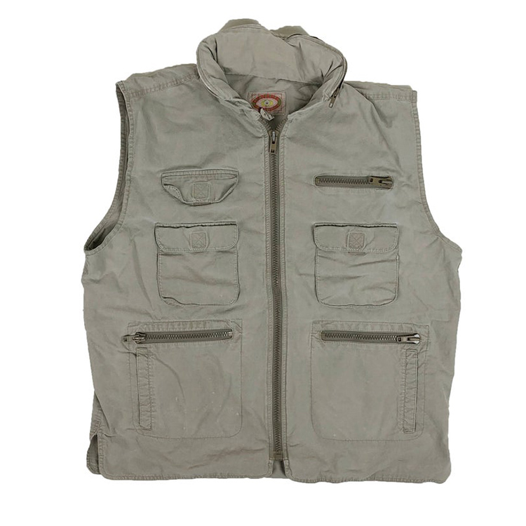 Custom tactische vest vintage heren safari utility vest met packable kap