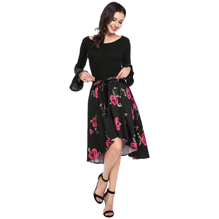 Haute qualité femmes vêtements simple fête sexy à manches longues robe fourreau taille haute jupe vêtements sans minimum robe asiatique