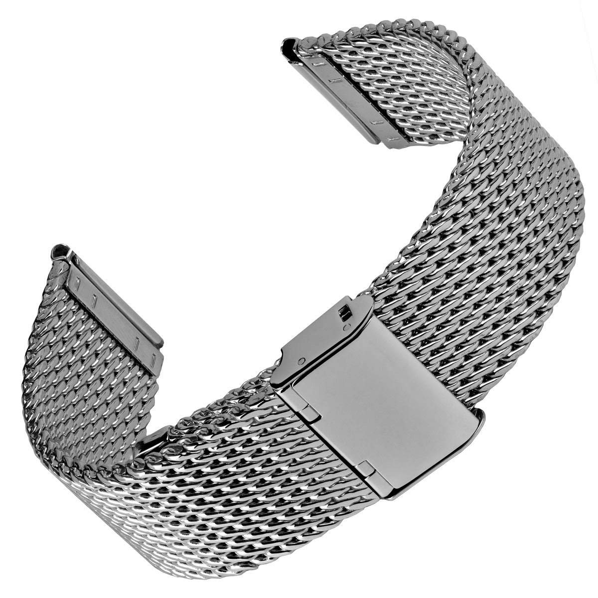 f10cd04d6ae Get Quotations · Geckota Stainless Steel Watch Band Oblique Milanese Mesh  Silver
