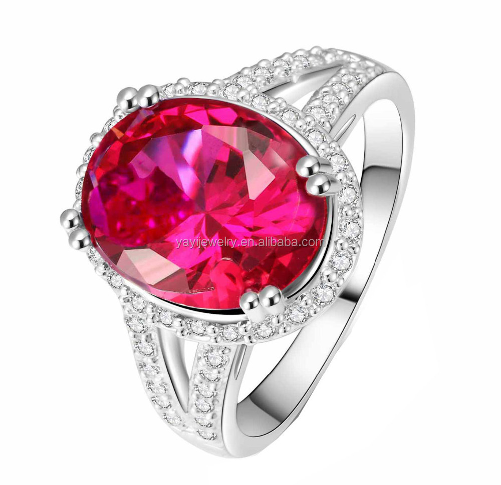 Fashion 925 Silver Natural Gemstones Ruby Wedding Birthstone Bride Engagement Multilevel Ring Jewelry Size 678910