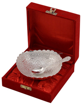 Designer White Metal Silver Plating Vintage Bowls With Beautiful Red Bo