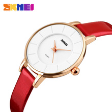 Red leather lady bracelets business women watches promotion #1178