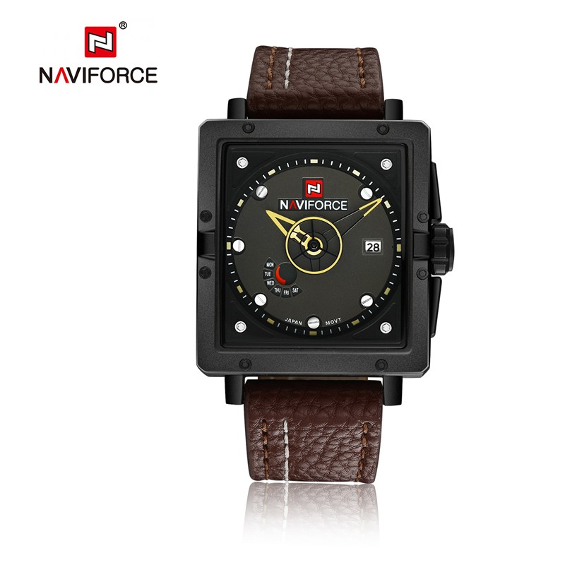 top famous naviforce 9065 luxury watch men business leather strap date analog watch square quartz fashion military brand watch