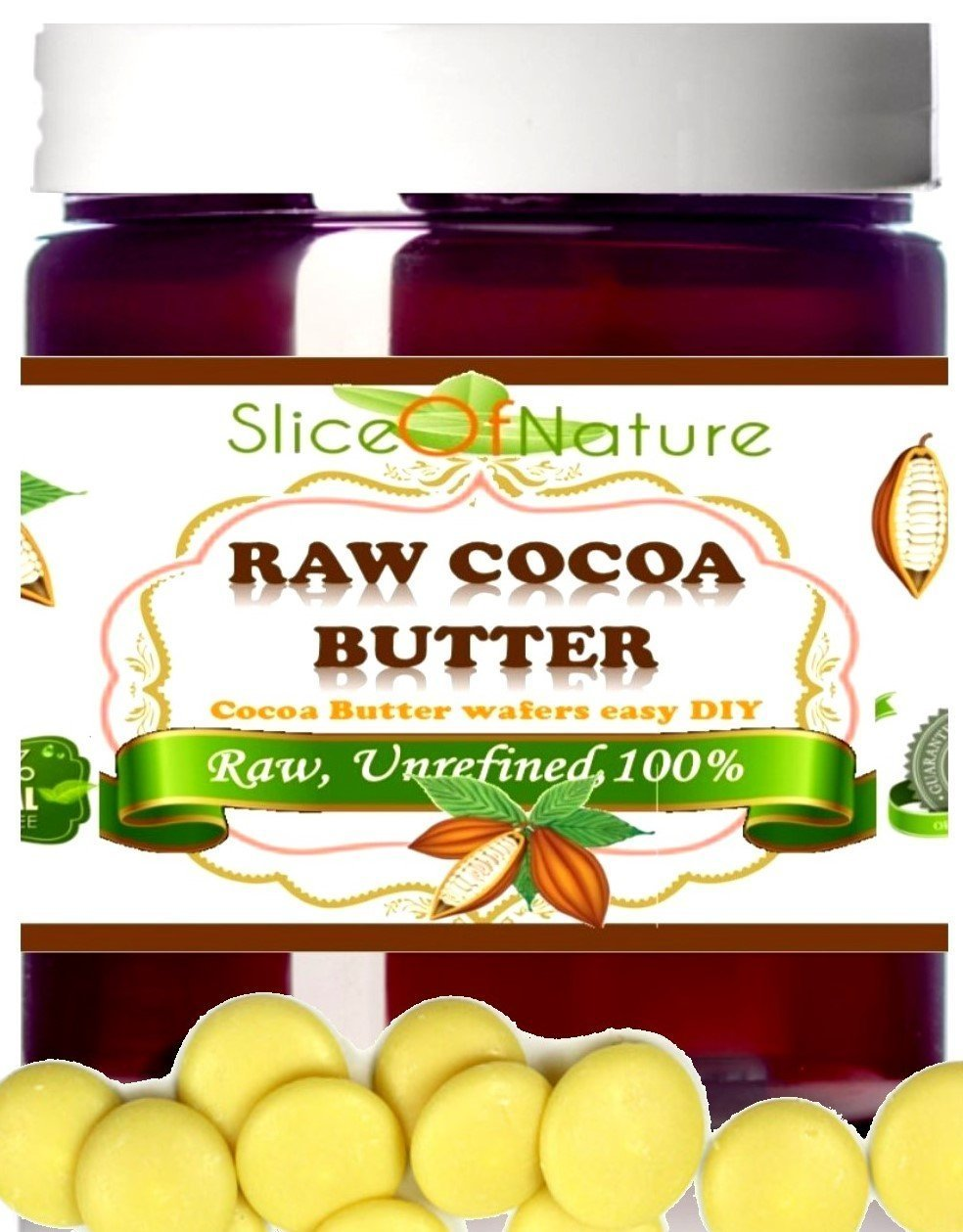 Slice of Nature RAW COCOA BUTTER - Use for Stretch Marks, Sunburn and Acne Scar Removal - Perfect Sealant - Natural Anti Wrinkle Cream 100% Pure Cocoa Butter - Unrefined, Natural Cocoa Butter with No Additives & No Artificial Preservatives - Vegan - Cruelty-Free - Not Tested on Animals - Ethically
