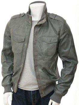 Mens Grey Leather Bomber Jacket - Buy Fashion Jacket,Mens Stylish ...