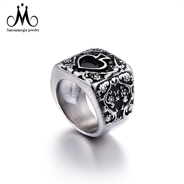 2018 Simple Design Star Pattern Vintage 316L Stainless Steel Rings Men Jewelry