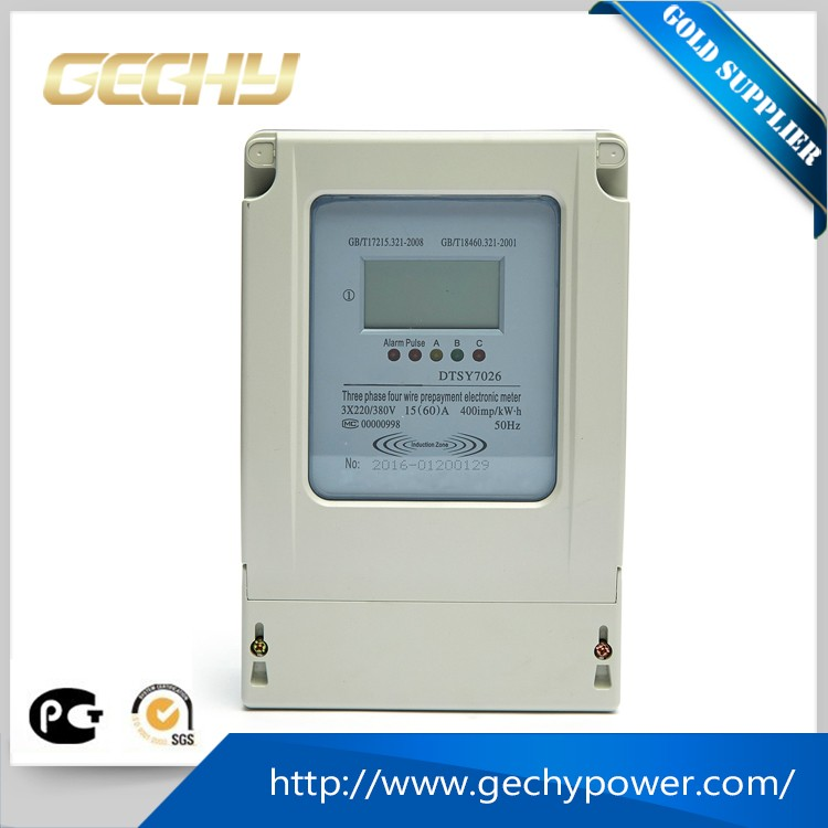 3 phase 4 wires smart LCD prepayment electric KWH meter