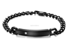 SSB08006 Unique Designs Stainless Steel Polishing Black Chain Bracelet with a Pure Stone Jewelry