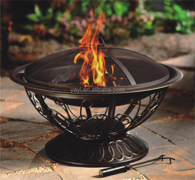 "30"" antique decorate outdoor metal brazier"