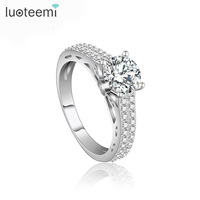 LUOTEEMI Luxury Rhodium Plated Bridal CZ Diamond Female Wedding Engagement Finger Rings