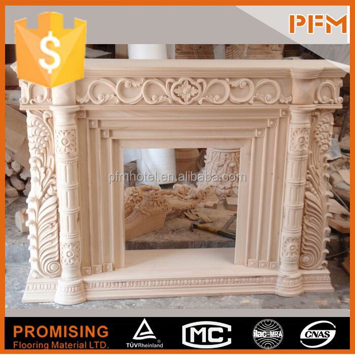 China White Marble parlor european style wood burning fireplace replacement parts