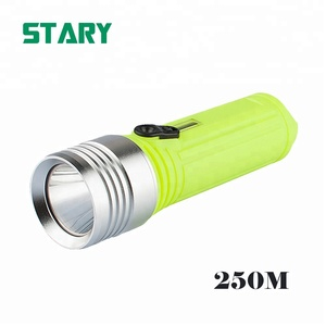 Deep sea 250 meter xml t6 led rechargeable diving flashlight torch light powered by 3pcs 18650 batteries