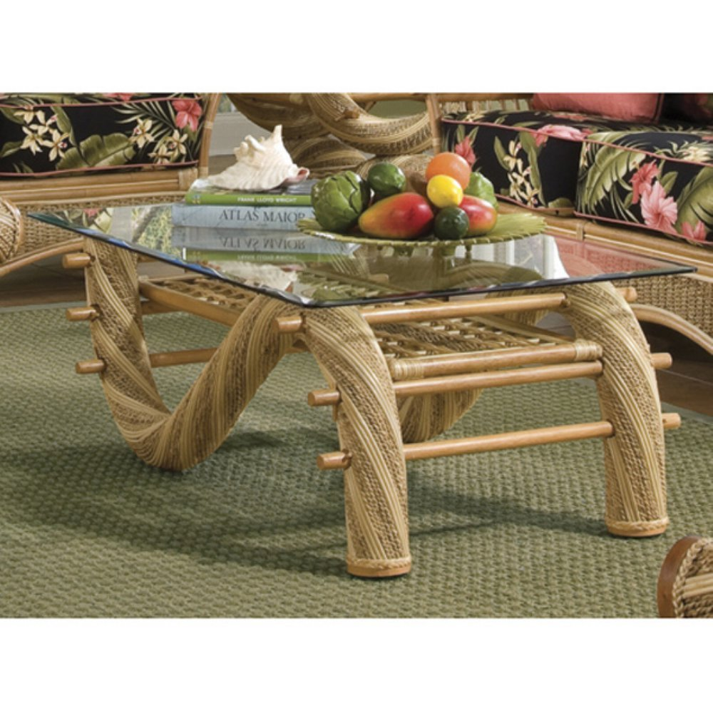 Get Quotations · Spice Island Wicker Maui Twist Coffee Table With Glass Top