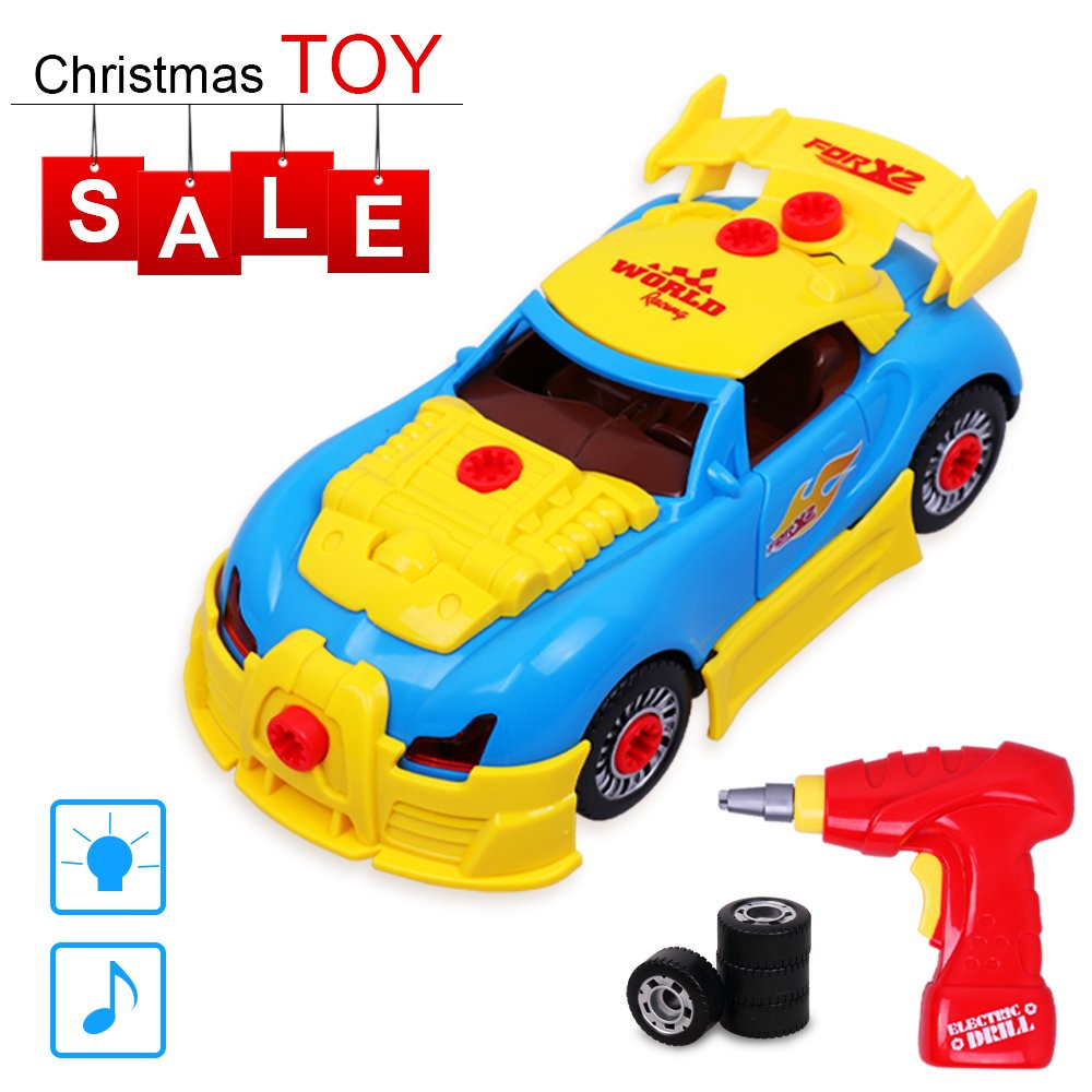 Rolytoy Take Apart Racing Car Kids Toys, Build Your Own Car with 30 Parts Constructions Kit - Toy Car Comes With Power Drill Realistic Sounds & Lights For Aged 3+ Boys & Girls