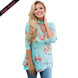 Fashion Floral Choker Top in Mint Women Blouse & Top