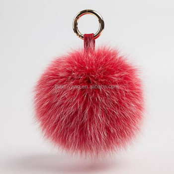 fluffy fur bag charm real fox fur ball keychain fox fur pom hat
