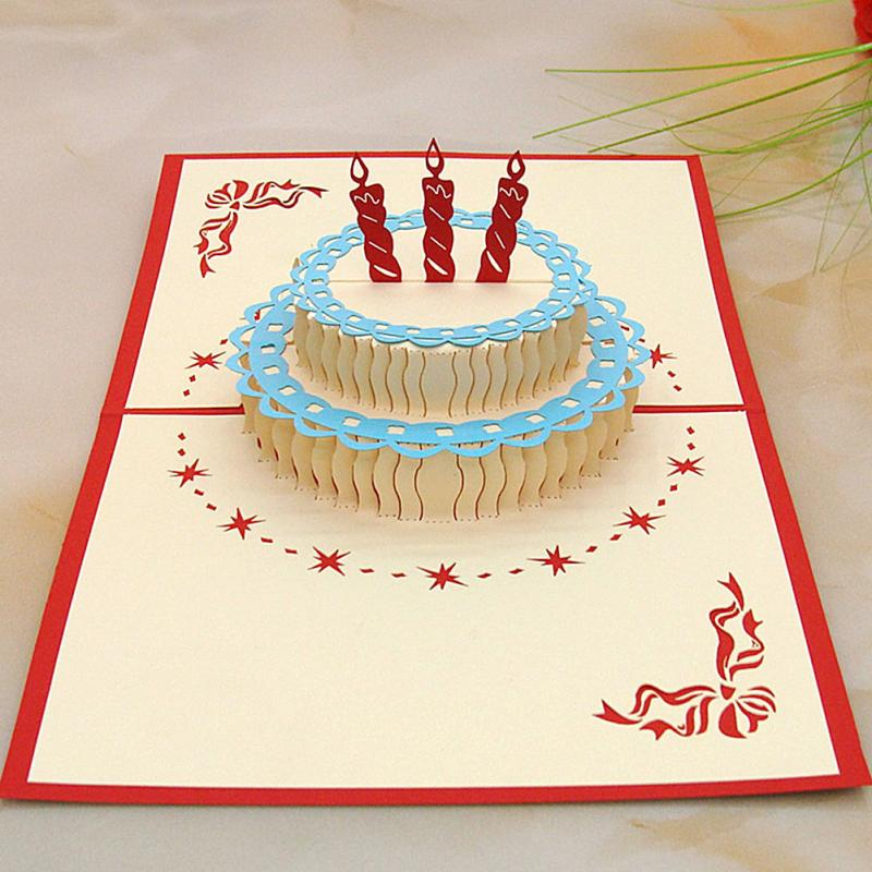 Wholesale 3D Postcard For Birthday With Cake Shaped Happy