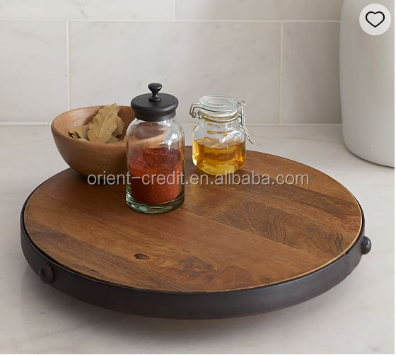 Wholesale Round Wood Tray/ High end Wooden Tray For Tea and Coffee Set