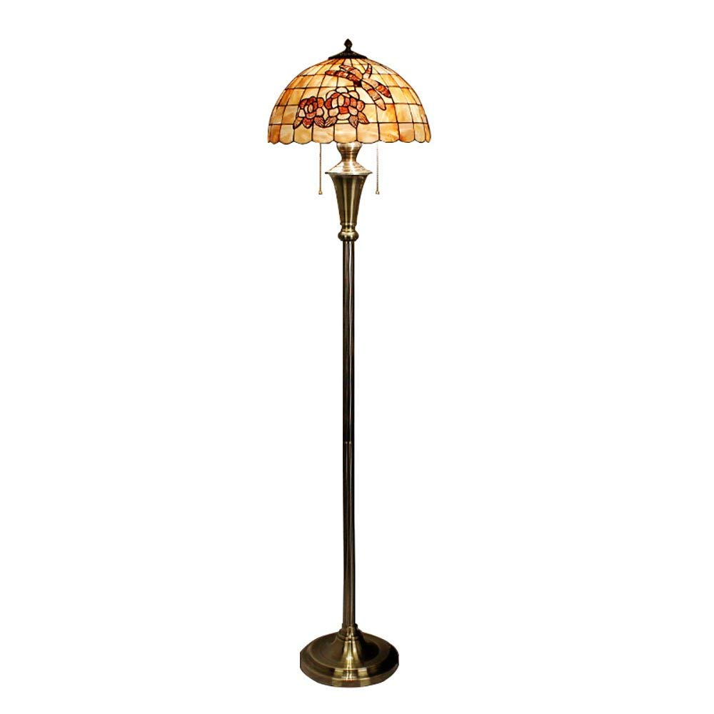 Floor Lamp 16-inch Mediterranean-Style Enamel Hand-Made Shell Lampshade, Electroplated Hardware, for Living Room/Bedroom/Study Room