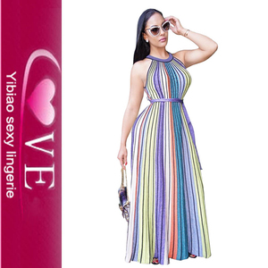 Halter Summer Color Striped Chevron Maxi Elegant Belt Long Dresses