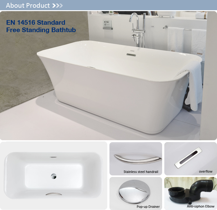 2016 Simple design bathtub with stainless steel handrail for hotel