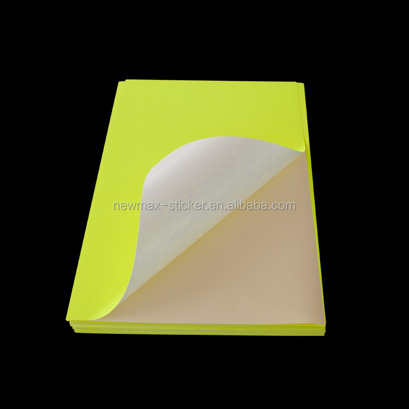 80gsm Self Adhesive Fluorescent Sticker A4 Paper Label In Sheets