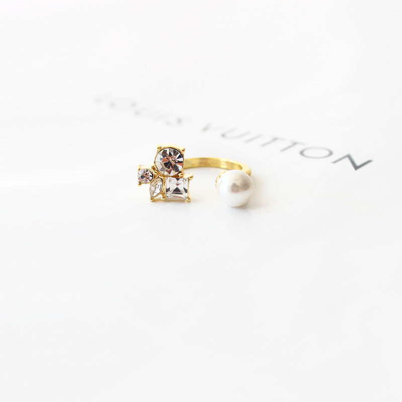 Fashion Rhinestone Imitation Pearl Knuckle Finger Ring Jewelry for Girls wholesale