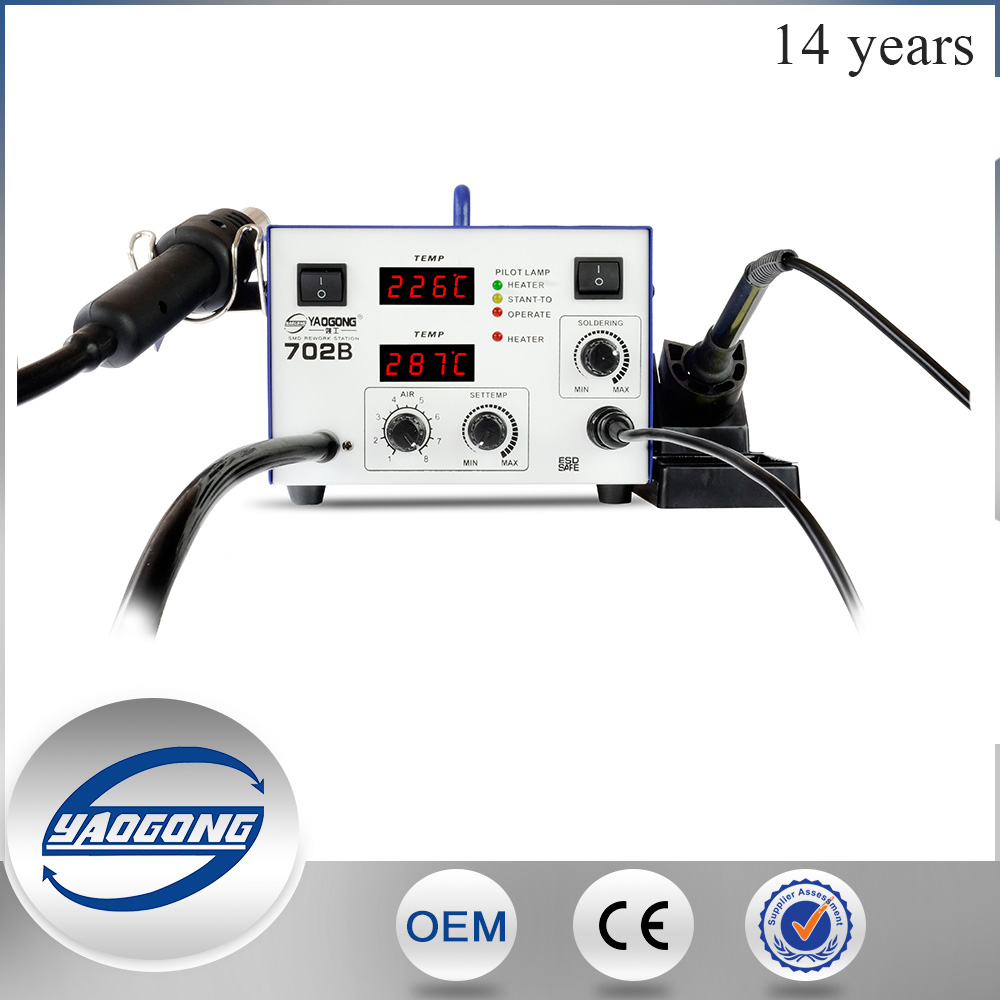 YAOGONG 702B welding machine Motherboard infrared bga rework station soldering with big pump double LED digital display