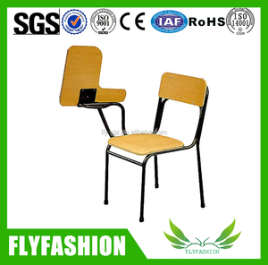 Factory supply wooden training chair with tablet/school study chair with writing pad