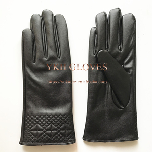 Embroidery Ladies Leather Gloves Winter In Black