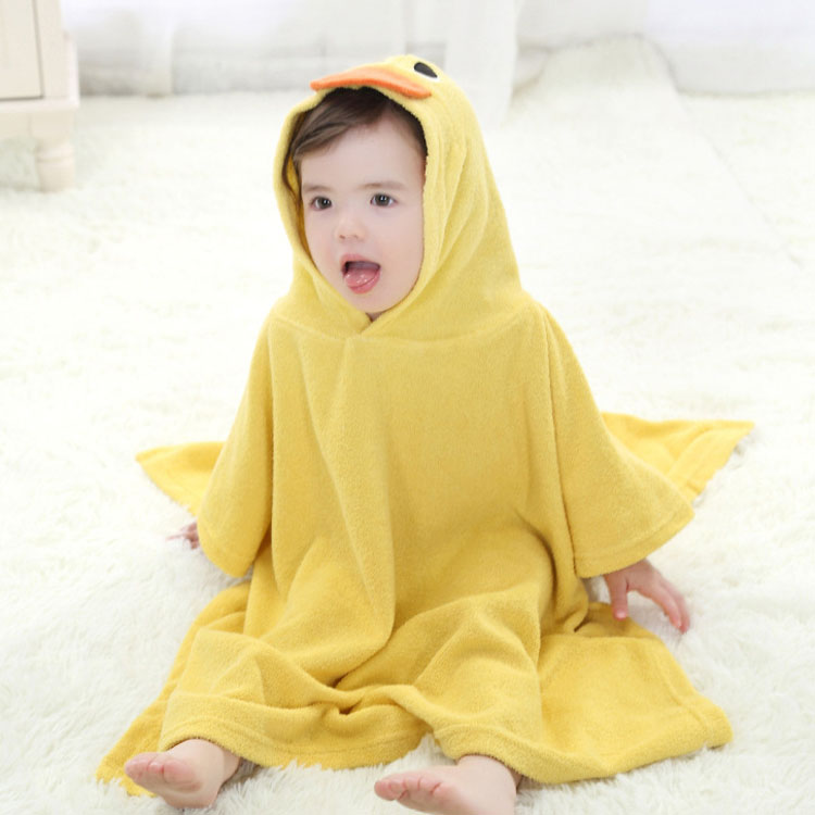 Wholesale 600GSM yellow duck kids hooded poncho towel