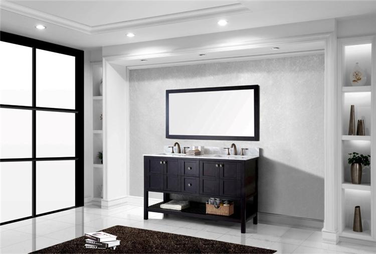 Moderne Design De Salle De Bain Vanité Avec Miroir,Double Évier Vanité De  Salle De Bain,Vanité De Salle De Bain En Bois Massif Avec Étagère - Buy La  ...