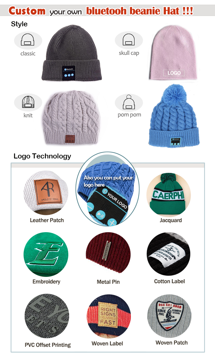 Small Quantity Order unique handsome men's summer beanie hat wholesale bluetooth beanie hat