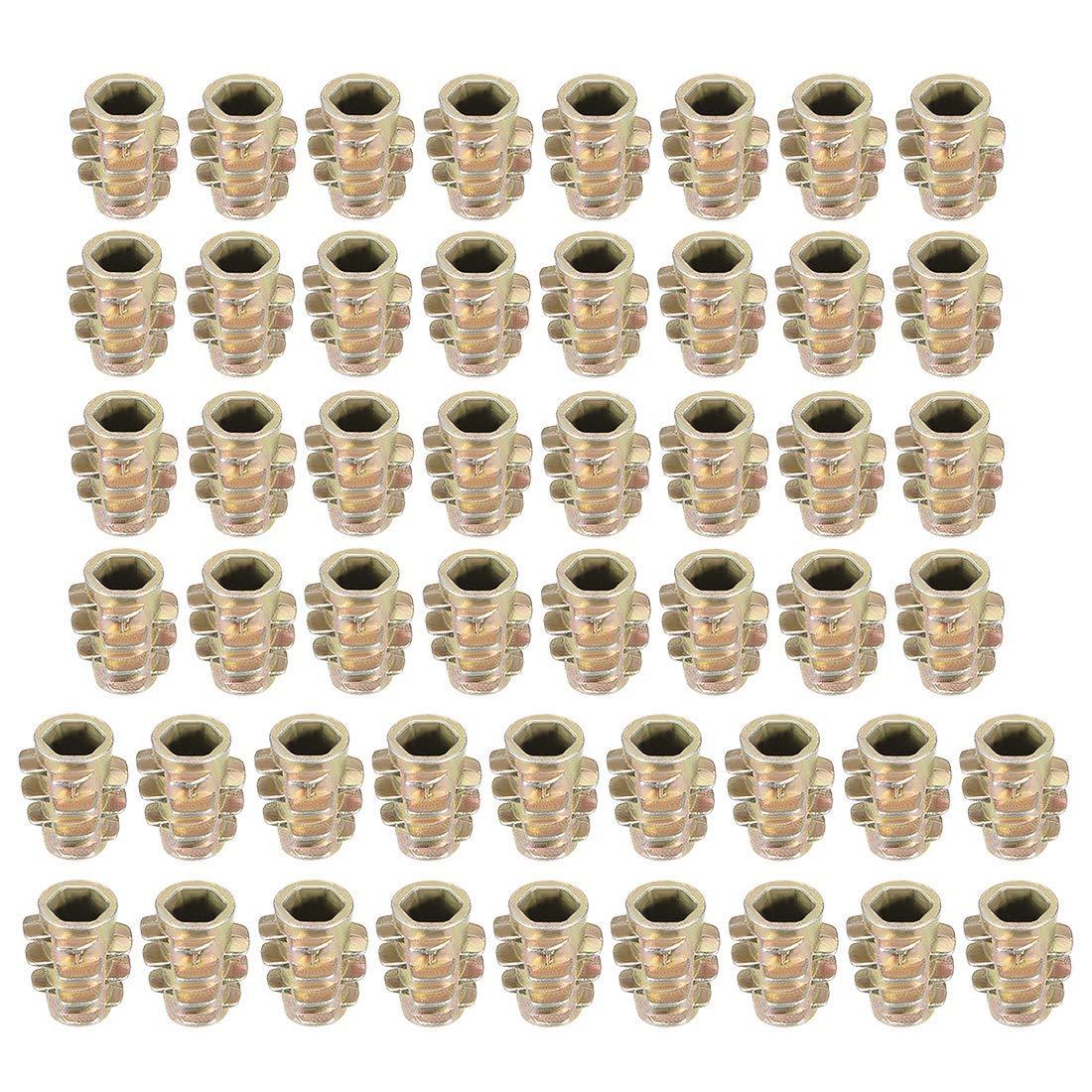 uxcell Threaded Insert Nuts Zinc Alloy Hex-Flush M4 Internal Threads 10mm Length 50pcs