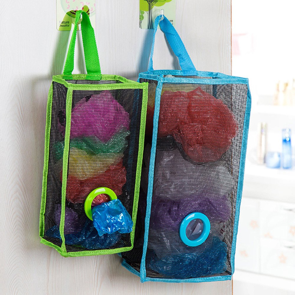 Flee Set of 2 Wall Mount Plastic Bags Holder Hanging Grocery Bag Container Plastic Grocery Bag Saver Mesh Grocery Bag Dispenser for Kitchen Bathroom Office