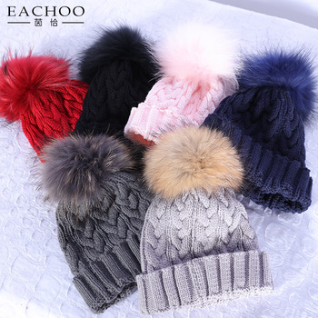 Custom Winter Hand Knitted Hat With Real Fox Fur Pom Poms Balls ... 568717f3d47